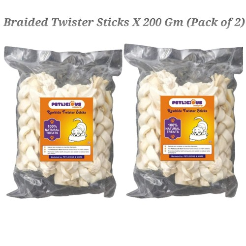Braided Twister Rawhide Sticks for Dogs And Puppies Calcium Bones