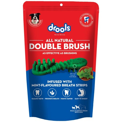 Drools Double Brush Dental Treat for Small and Medium Breed Dogs